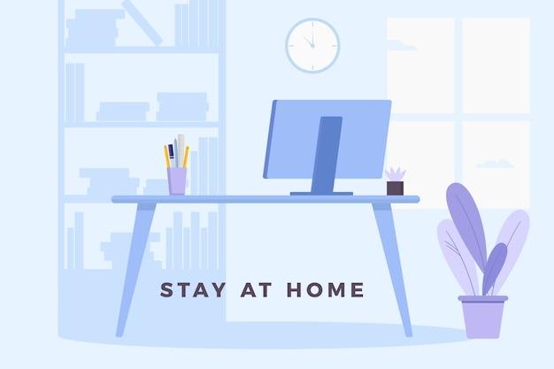 Blijf veilig en werk vanuit huis Premium Vector