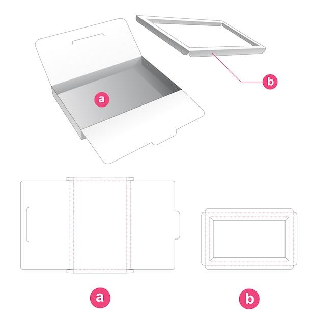 Blikken doos met insteekdrager gestanst sjabloon Premium Vector