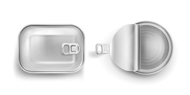 Blikken met trekring mockup bovenaanzicht. ingeblikt voedsel metalen potten met gesloten en open deksels, aluminium rechthoek en ronde conservenbussen geïsoleerd op een witte achtergrond, realistische 3d-vector iconen Gratis Vector