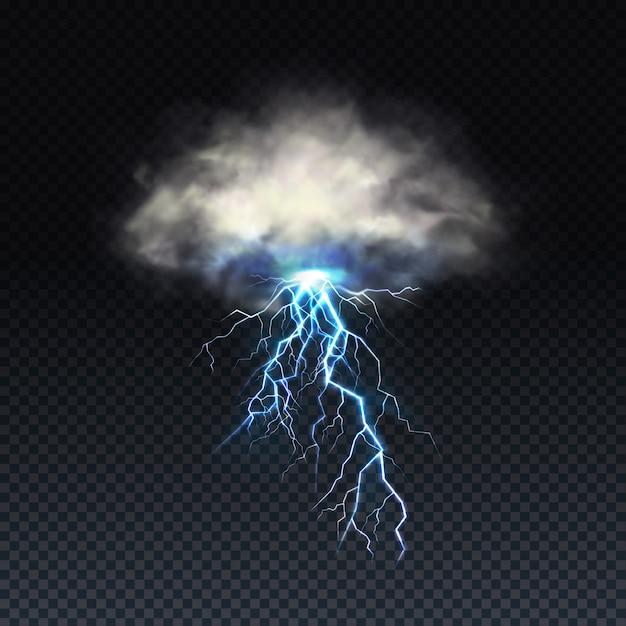 Bliksem met grijze wolk geïsoleerd op transparante achtergrond Gratis Vector