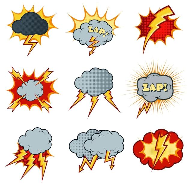 Bliksem pictogrammen instellen in cartoon komische stijl. flitsexplosie, wolkkarikatuur, elektriciteitsdonder Gratis Vector
