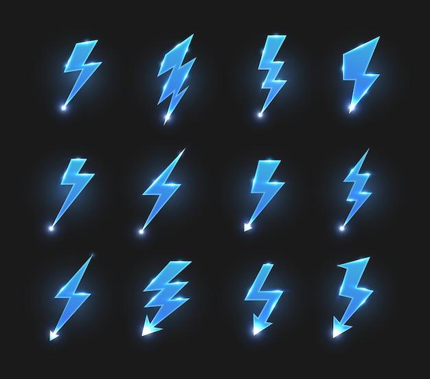 Bliksem pictogrammen zigzag pijlen, elektrische staking of flitsen met gloeiende vonken. Premium Vector