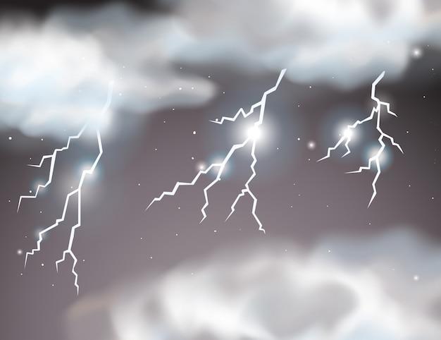 Bliksem storm scène achtergrond Gratis Vector
