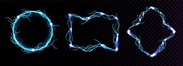 Bliksemframes, elektrisch blauwe bliksemgrenzen, magische portalen, energiestaking. Gratis Vector