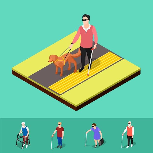 Blinde mensen buitenshuis Gratis Vector