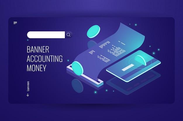 Blockchain-betalingsconcept, isometrisch internet online betalen en bank, elektronische factuur Gratis Vector