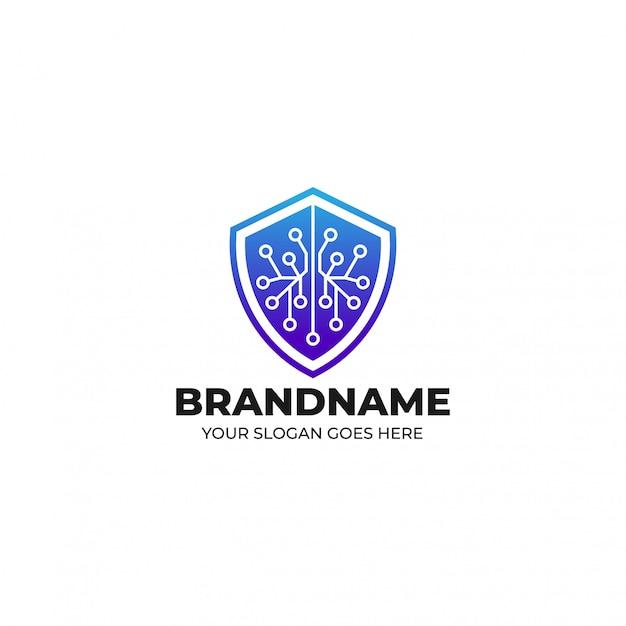 Blockchain beveiligingssysteem verdediger logo sjabloon Premium Vector