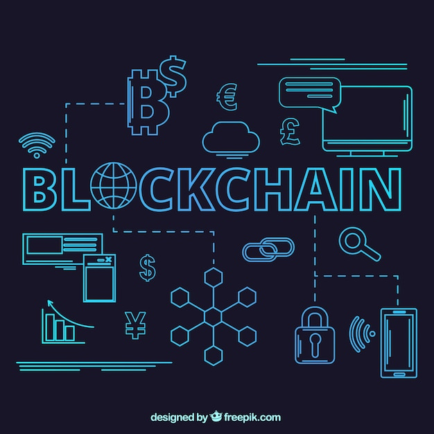 Blockchain-conceptenachtergrond Gratis Vector