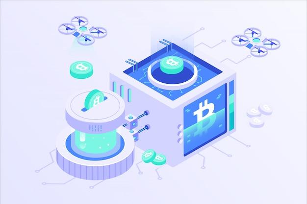 Blockchain cryptocurrency bitcoin mining online server isometrische vector illustartion design Premium Vector