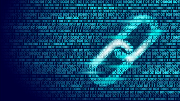 Blockchain hyperlink symbool op binair codenummer big data flow Premium Vector