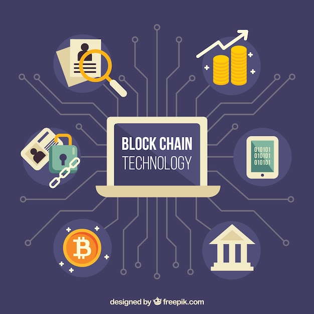 Blockchain infographic concept Gratis Vector