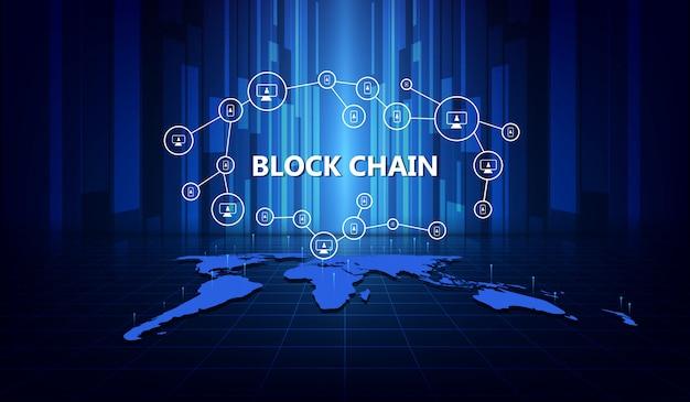 Blockchain-netwerkachtergrond Premium Vector