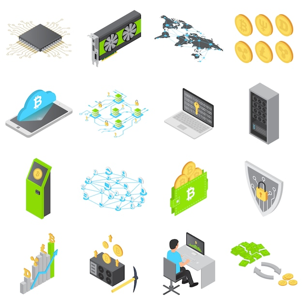 Blockchain technologie pictogrammen instellen Premium Vector