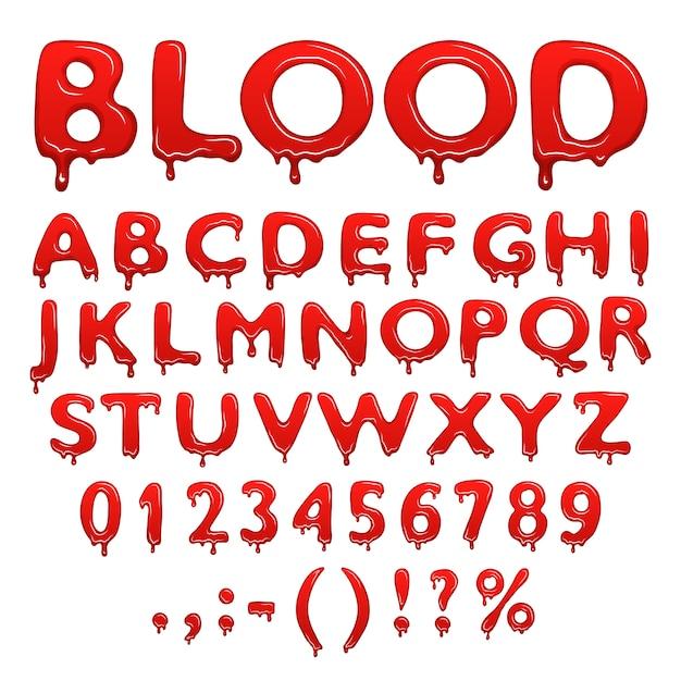 Bloed alfabet nummers en symbolen Premium Vector