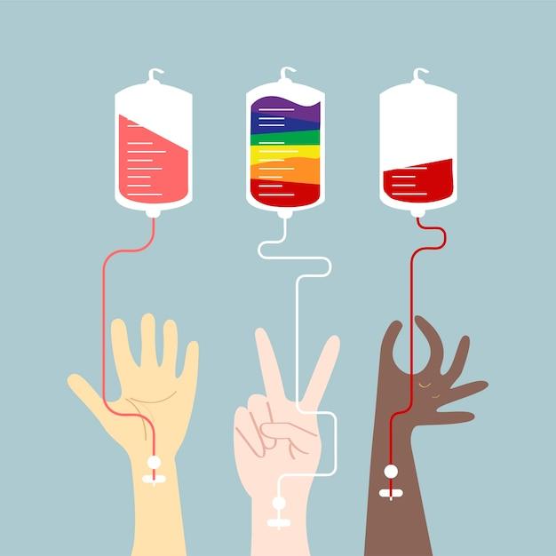 Bloed donatie concept vectorillustratie Gratis Vector