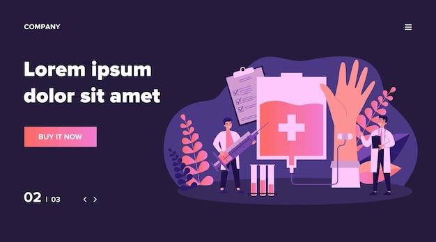 Bloed doneren in ziekenhuis illustratie. cartoon arts of verpleegkundige bloed afnemen van donor infographics. gezondheid, noodgevallen en geneeskunde concept Premium Vector