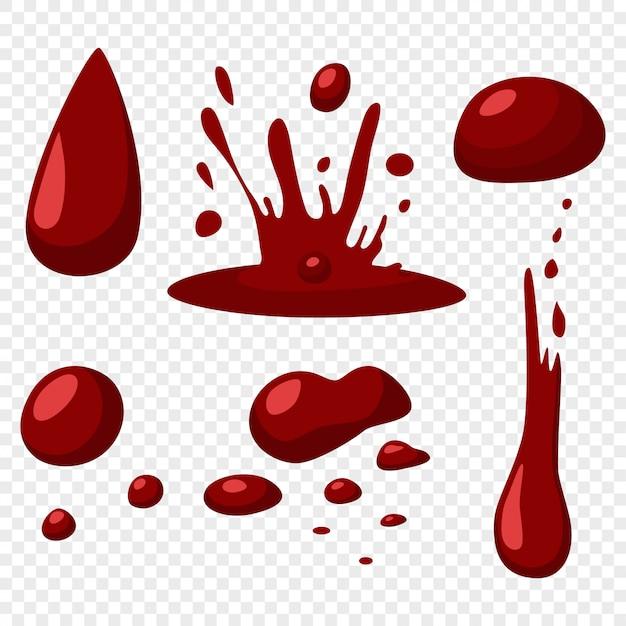 Bloed druppels en spatten vector plat pictogrammen instellen Premium Vector