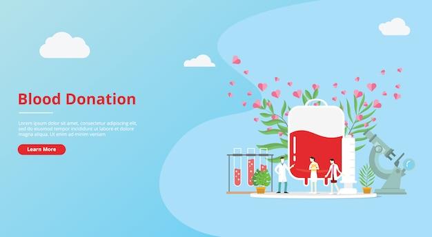 Bloeddonatie concept voor website sjabloon banner Premium Vector