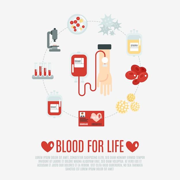 Bloeddonatie concept Gratis Vector