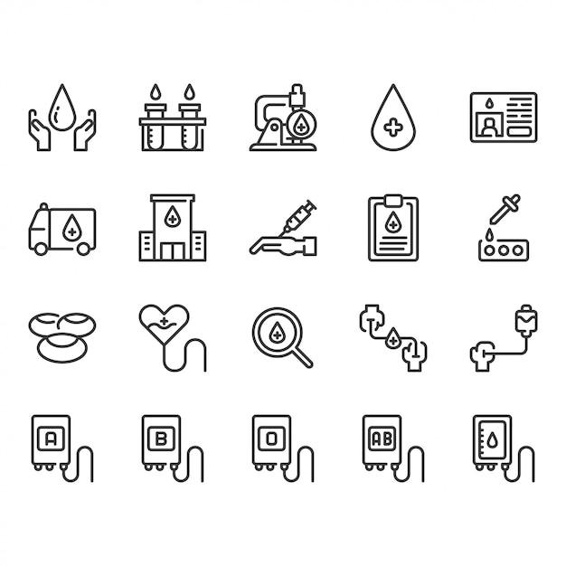 Bloeddonatie icon set Premium Vector