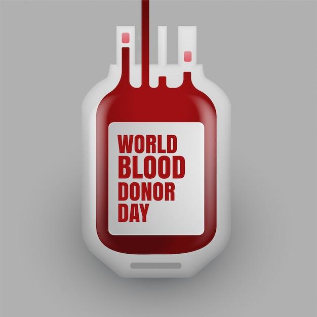 Bloeddonatiefles voor wereldbloeddonordag Gratis Vector