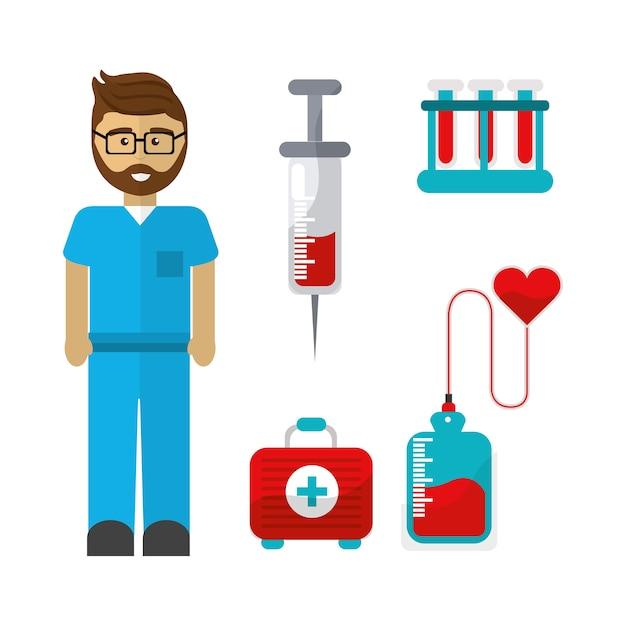 Bloeddonatiehulpmiddelenpictogram Premium Vector