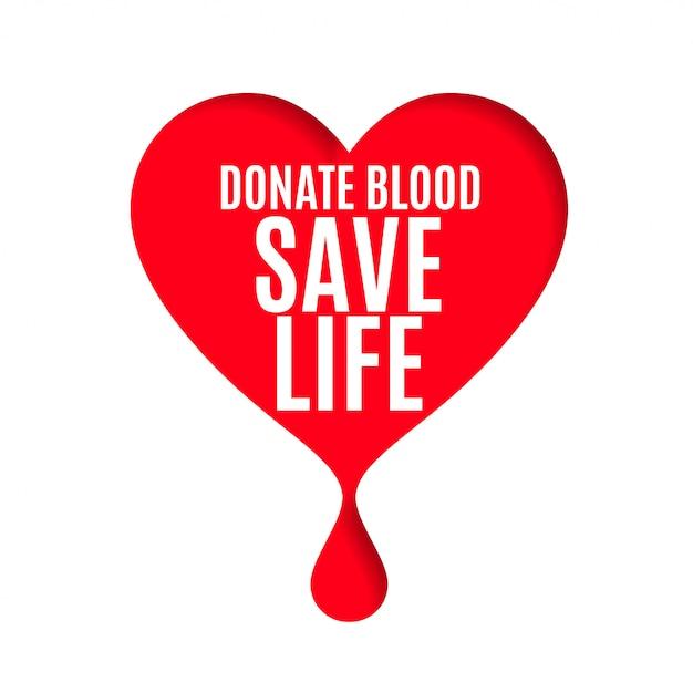 Bloeddonor dag poster met hart en bloed drop Gratis Vector