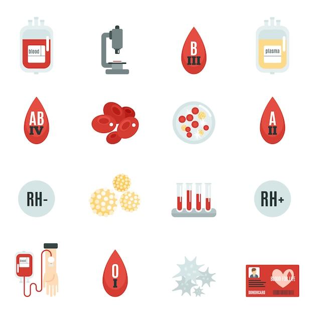Bloeddonor pictogrammen plat Gratis Vector