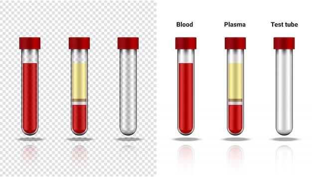 Bloedfles en plasma realistische transparante reageerbuis plastic of glas voor wetenschap en leren op wit illustratie gezondheidszorg en medisch Premium Vector