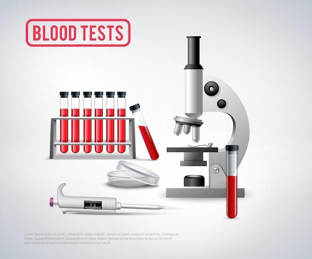 Bloedonderzoek set achtergrond Gratis Vector