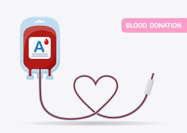 Bloedzak geïsoleerd op een witte achtergrond. donatie, transfusie in het concept van het geneeskundelaboratorium. Premium Vector