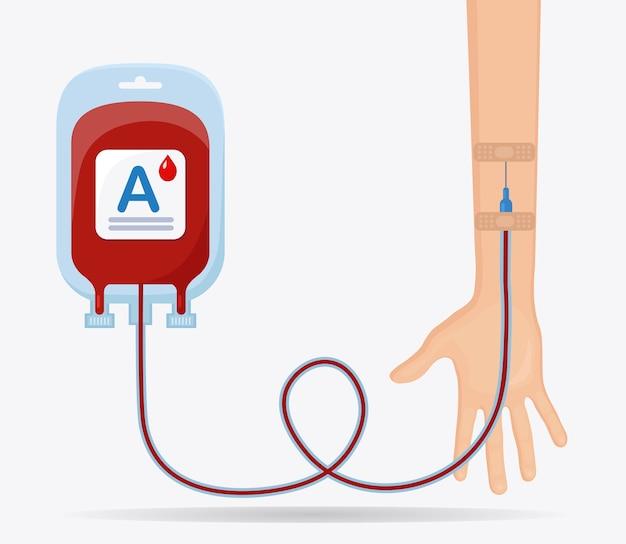 Bloedzak met rode druppel en vrijwilliger hand op witte achtergrond. donatie, transfusie in het concept van het geneeskundelaboratorium. red het leven van een patiënt. Premium Vector