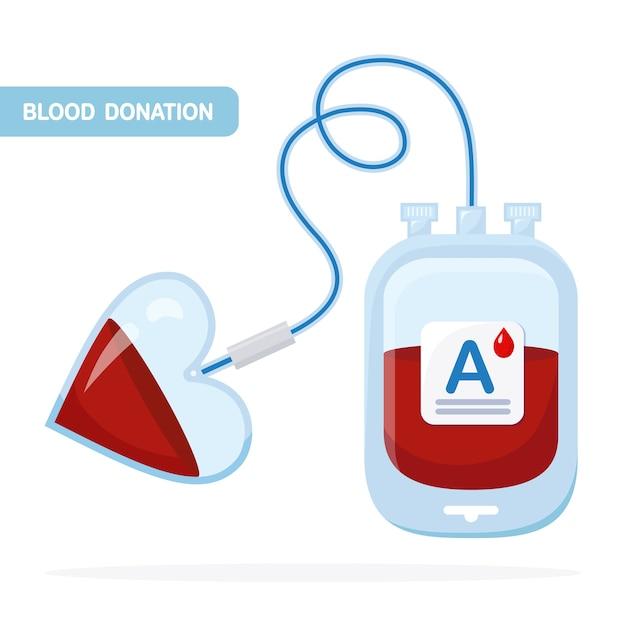 Bloedzak met rode druppel op witte achtergrond. donatie, transfusie in het concept van het geneeskundelaboratorium. pack van plasma met hart. red het leven van een patiënt. Premium Vector