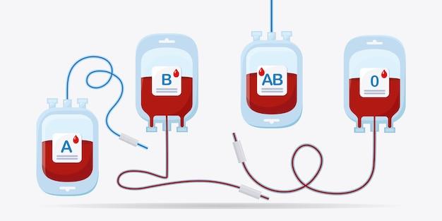 Bloedzak met rode druppel op witte achtergrond. donatie, transfusie in het concept van het geneeskundelaboratorium. red het leven van een patiënt. Premium Vector