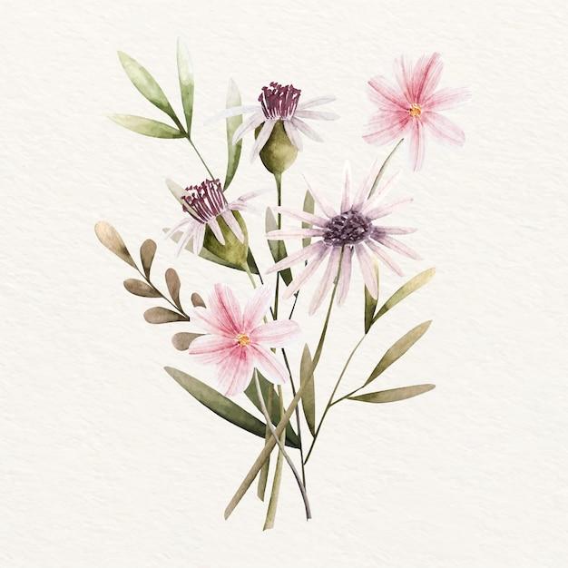 Bloeiend vintage bloemenboeket Gratis Vector