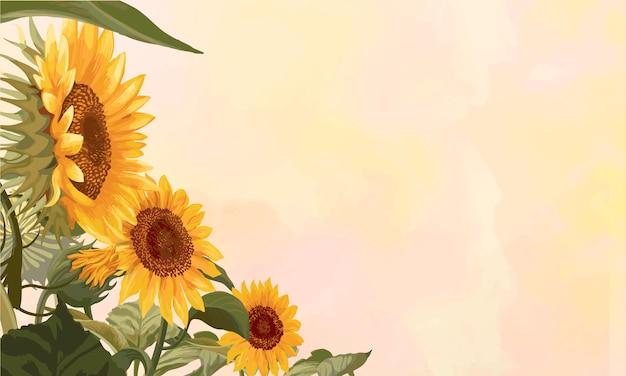 Bloeiend zonnebloemkader Gratis Vector