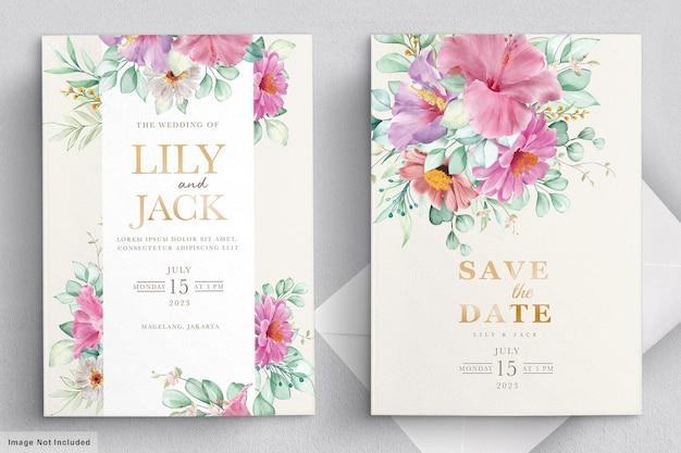 Bloeiende bloemen bruiloft frame kaart Gratis Vector