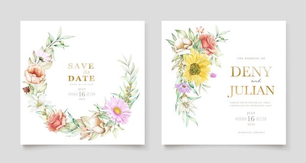 Bloeiende bloemen lente uitnodigingskaartenset Gratis Vector