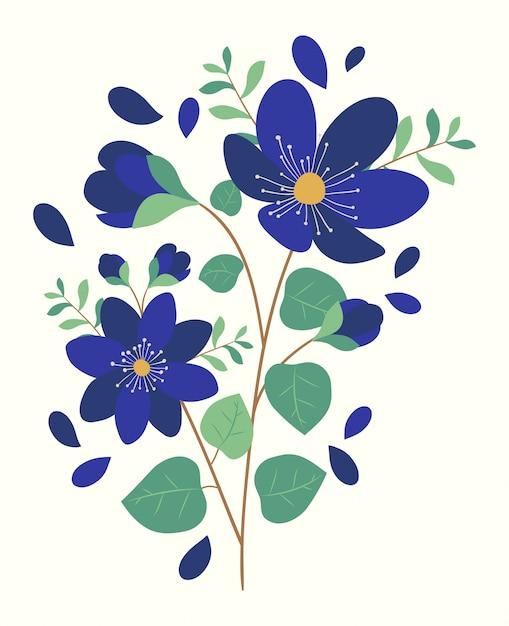 Bloeiende lente bloemen boeket Premium Vector
