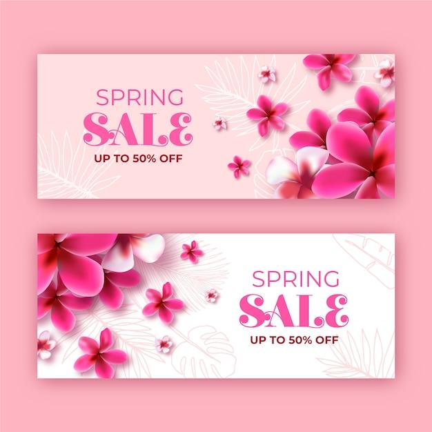 Bloeiende monochrome lente bloemen verkoop banner Gratis Vector