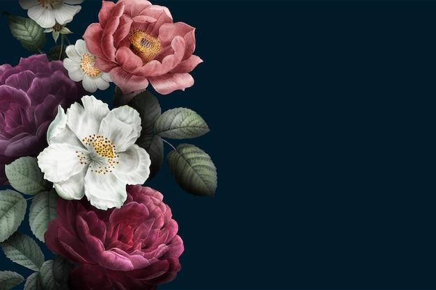 Bloeiende rozen banner Gratis Vector