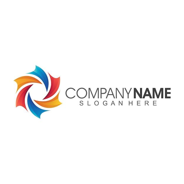 Bloem abstract bedrijf logo template Premium Vector