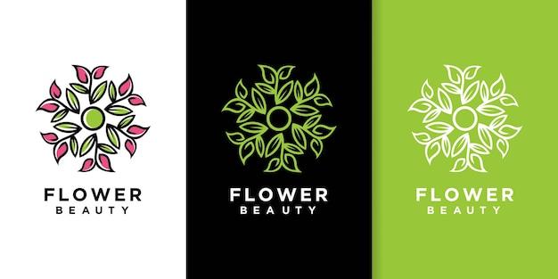 Bloem blad lijntekeningen stijl logo ontwerp Premium Vector