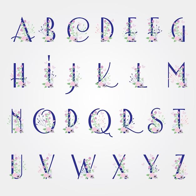 Bloem bloei lettertype alfabet - voorjaar vector alfabet met bloemen en bladeren Premium Vector