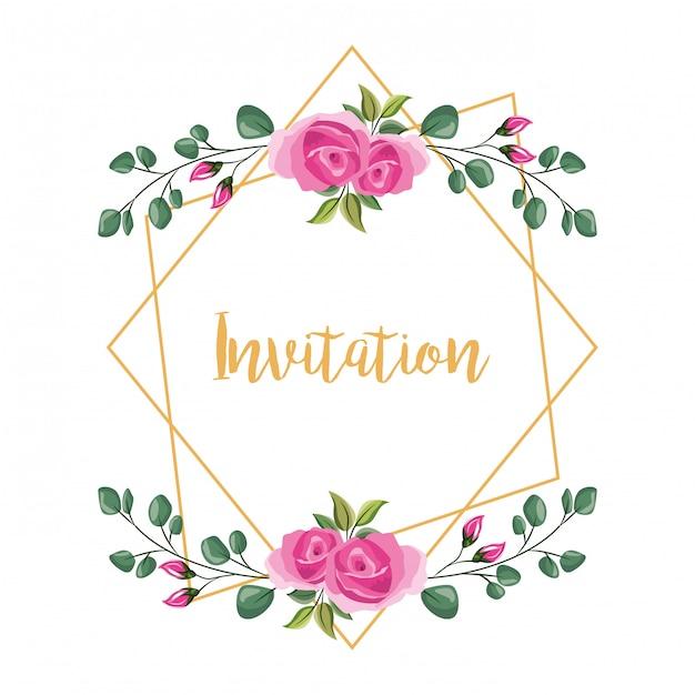 Bloem decoratieve frame uitnodiging Premium Vector