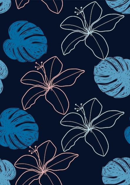 Bloem hibiscus en tropisch blad naadloos patroon Premium Vector