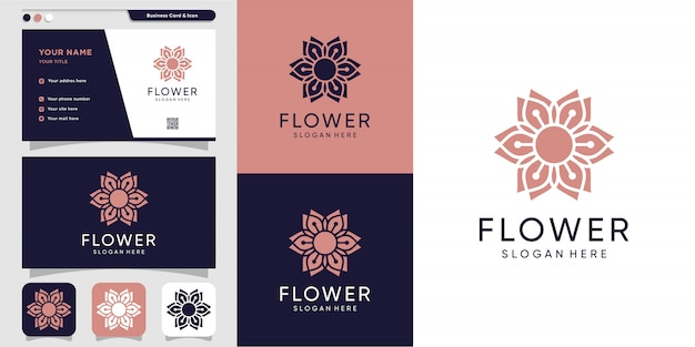 Bloem logo en visitekaartje ontwerpsjabloon. schoonheid, mode, salon, spa, pictogram, Premium Vector