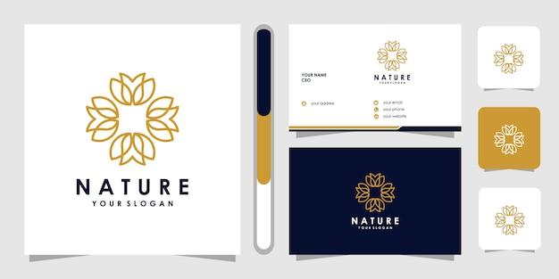 Bloem logo met lijn kunststijl. logo's kunnen worden gebruikt voor spa, schoonheidssalon, decoratie, boetiek. en visitekaartje Premium Vector