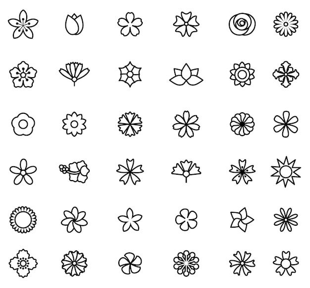 Bloem pictogrammenset vector illustratie schets Premium Vector