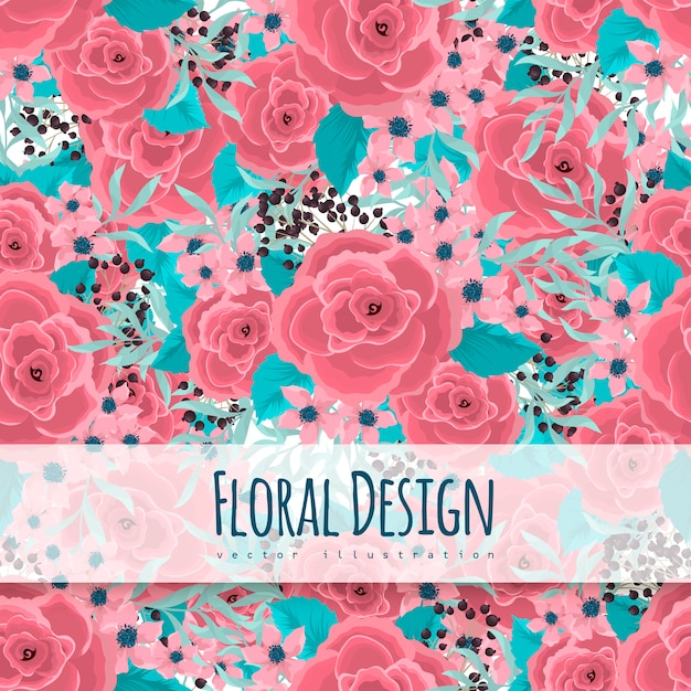 Bloem roze rozen naadloos Gratis Vector